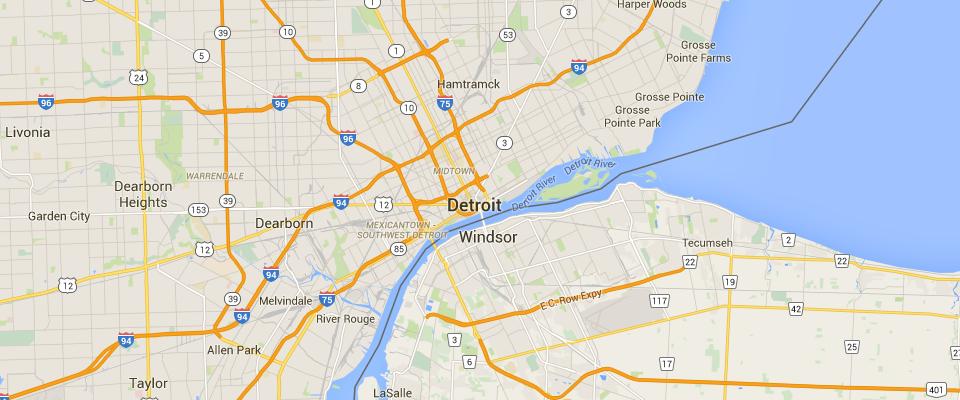 Detroit Waste Disposal Dumpster Rental Service Area Map